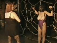3 Domineer Busty MILFs Take a crack at Pleasure In a Servitude Sex Dungeon