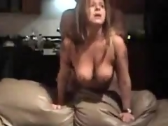 Mature whore with big natural scoops is drilled from behind, her fellow is coarse with her.