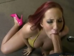 Redhead milf Kelly Divine in pink high heels has blow job sex