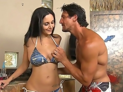 Hot Ava Addams was invited by Tommy Gunn to tan at his glamorous swimming pool
