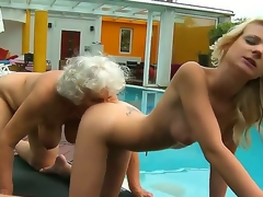 Excited lesbo grannies Candy Lover and Norma have a enjoyment getting private beneath the warm sunshine