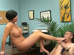 Eric Jover is ordered by voluptuous Shay Fox to suck her sexy foot after lusty foot job