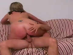Tall golden-haired man Jay with hawt body and long rock hard cock acquires enticed by full figured golden-haired cougar Marie with gigantic soaked mounds and cheep tattoo on lower back.