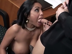 Greatly hot Indian chunky breasted milf Priya Rai is all over her office co-worker in a wild and really arousing blow job encounter which captures the eye.
