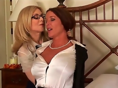 Very gorgeous and very breasty whores Nina Hartley and Rachel Steele are engaging in a hawt sapphic encounter and they look highly hawt in the process.