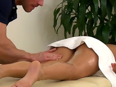 Muscley masseur Johnny Sins doesnt always work for cash  especially with customers as hot as Nikki Daniels. Watch him run his hands all over her gorgeous oiled up body.