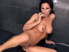 Charming native pornstar Kirsten Price is in shower. This babe is expecting for you to come and grab these big tits and rub that bald wet pussy. This babe cant wait long.