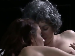 We receive some pretty enjoyable old/young lesbian sex here, with a blue haired old lady making out with a young, svelte beauty. Man, I dont remember Grandma having a body like that!