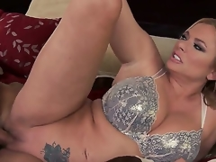 Sexy and busty golden-haired hottie Briana Banks with large scoops in her white lace bra receives her bald minge screwed hard in astonishing sex session with her lusty partner Keiran Lee