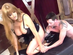 Absolutely amazing doxy MILF with large boobies fucks in her darksome hole and mouth, her tattoed bastard loves when his hard stick permeated her warm pussy, so fucking hot show!