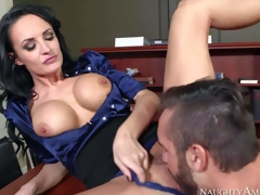 One of a kind milf Alektra Blue with big round firm hooters and lengthy legs in hawt outfit seduces juvenile fucker Daniel Hunter and receives juicy minge licked to orgasm