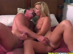 Attractive blond milf receives her juicy boobies touched by curious stud previous to that babe takes off her sexy white panties. They warm each other up and then that babe swallows his rock hard cock