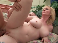 Monik is a good looking aged golden-haired with sexy body. Shaved twat woman with large love bubbles receives her anal aperture fucked by throbbing hard dick of her young fuck buddy. See breasty aged bitch receives her fudge packed