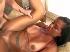Viana Milian is a smoking sexy milf with tanlined wazoo and boobs, Large boobed dark haired experienced whore takes guys hard cock so unfathomable in her shaved pussy. Watch lustful mommy receive slam screwed