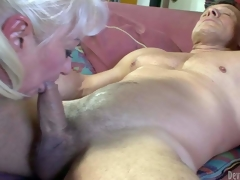 Dana Hayes is s blond-haired granny with great 10-Pounder sucking experience. This babe gives irrumation to well brawny hard cocked guy. This babe sucks his rock hard rod non-stop and cant acquire enough. See filthy oldie blow!