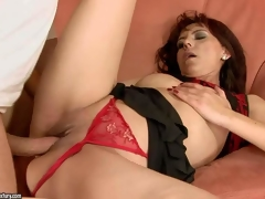 Gina Red is one insatiable older dark brown hair in sexy red strap panties. This babe receives her bald cum-hole screwed hard and unfathomable in many positions by her hawt blooded fuck buddy in advance of she receives sufficiently