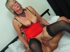 Mature honey in red lingerie rides boner