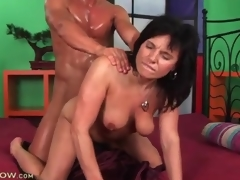 Stud is super sweaty from fucking a sexy milf