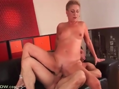 Short hair blonde aged drilled in tight love tunnel