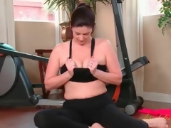 Pliant milf works out and masturbates in spandex