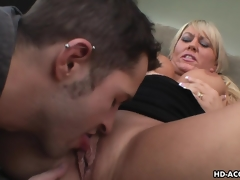 Luscious blonde MILF groans during the time that being shagged hard