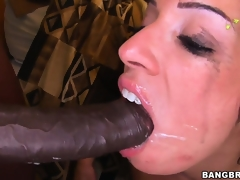 Monica Santhiago opens her oiled up gazoo and takes huge darksome dong in her twat