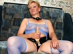 Donna was so excited - this babe thought she'd lastly receive to wear her strap on vibrator and fuck some hot girl. This babe was so eager that when we got to her place, we saw this oldie jerking off her plastic cock. We couldn't allow such a nasty deed to go unpunished. We