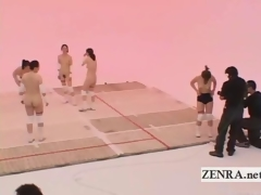 Subtitled Nudist Japan milfs volleyball with an increment of cum facial
