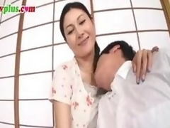 Censored video scene of a Japanese MILF gender a much younger guy