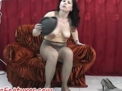Pantyhose good-luck shred pleasure with regard to perfect milf in backstage