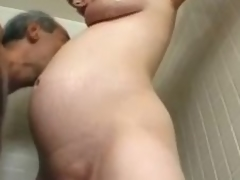 Preggo milf Becky Cumisha acquires fondled with the addition of fucked from behind